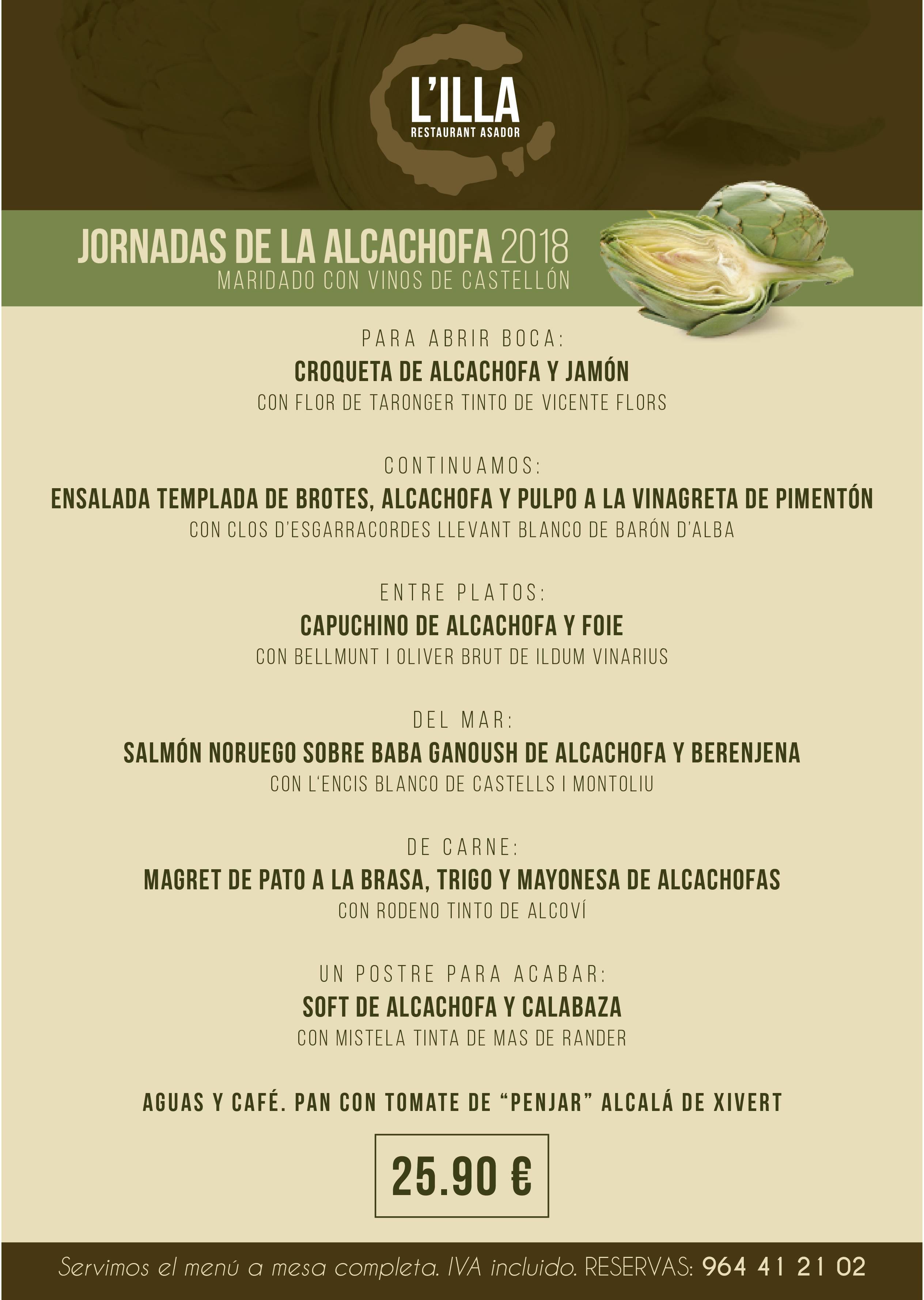 Os presento el menú de la alcachofa 2018 maridado integramente con vinos castellonenses. Lo serviremos a partir del Viernes 2 de Febrero hasta fin de mes. No olvideis que abrimos de Jueves a Domingo.